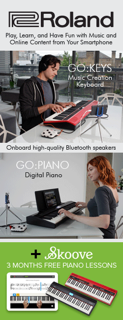 Roland offer 3 Months Free Piano Lessons using Skoove with a GO:Piano or Go:Keyboard.